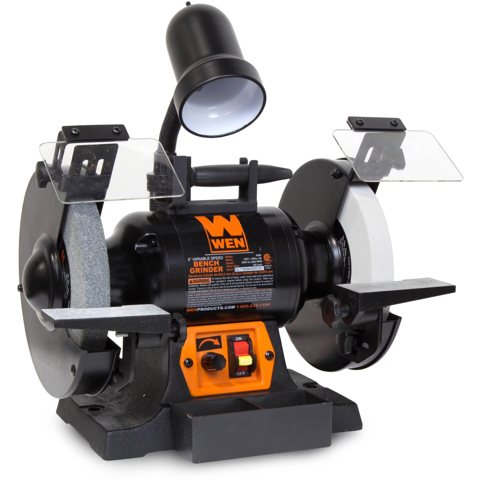 Wen 5 Amp 8 Inch Variable Speed Bench Grinder With Work