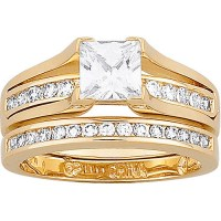 2.75 Carat T.G.W. Cubic Zirconia Gold Plated 2 piece ...