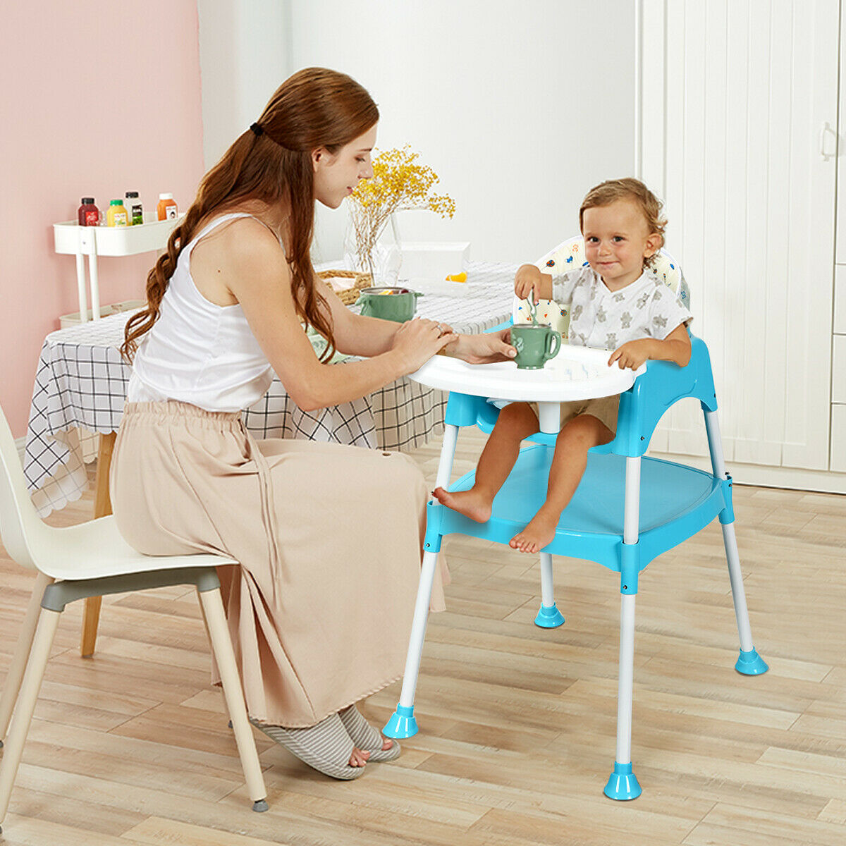 Booster High Chair Seat 3 In 1 Baby High Chair Convertible Table Seat Booster Toddler Feeding Highchair