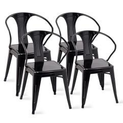 Tolix Side Chair Smallest Folding Costway Set Of 4 Style Metal Chairs Arm