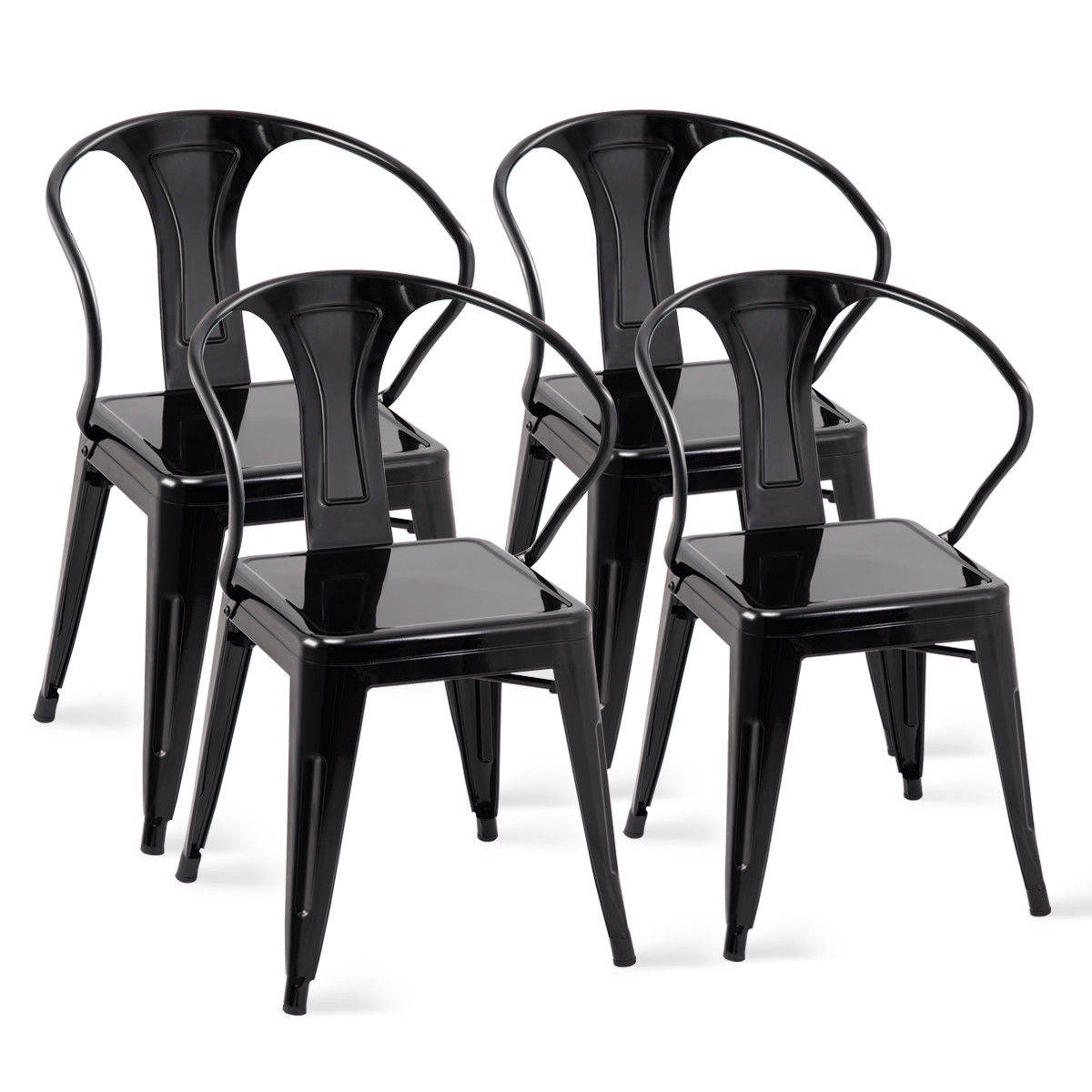 Set Of 4 Kitchen Chairs Costway Set Of 4 Tolix Style Metal Chairs Arm Chair