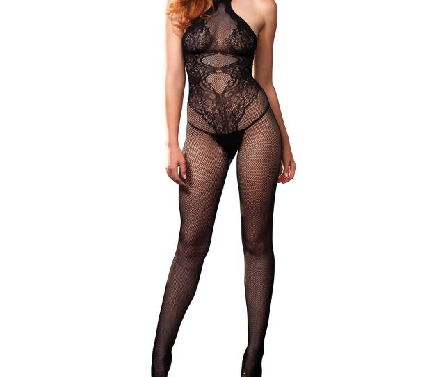 Leg Avenue Womens Sexy Crotchless Fishnet And Lace Hourglass Halter Bodystocking Walmart Com