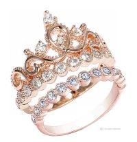 Guliette Verona Sterling Silver Princess Crown Ring and ...