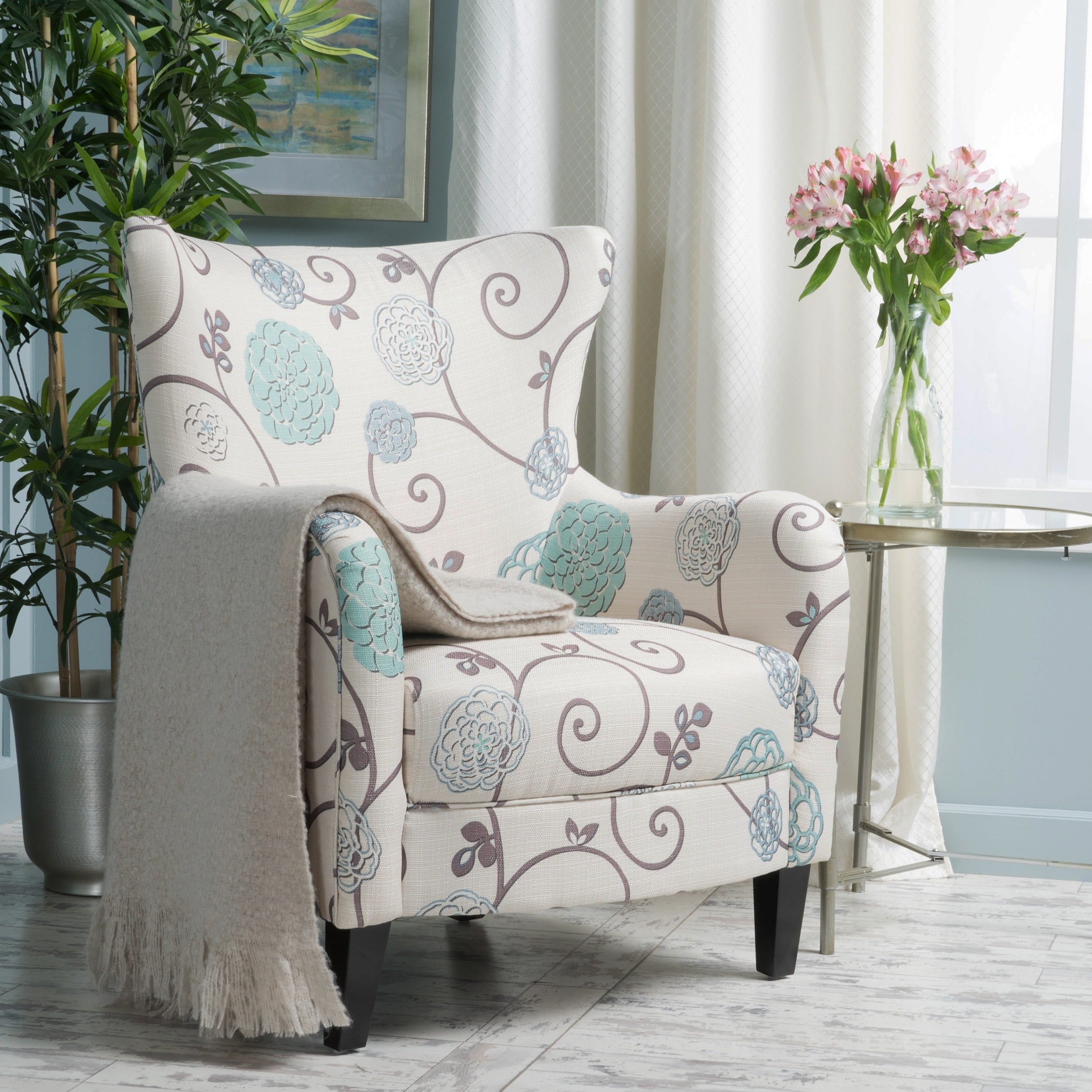 christopher knight club chair roll up beach home arabella high back floral fabric by walmart com