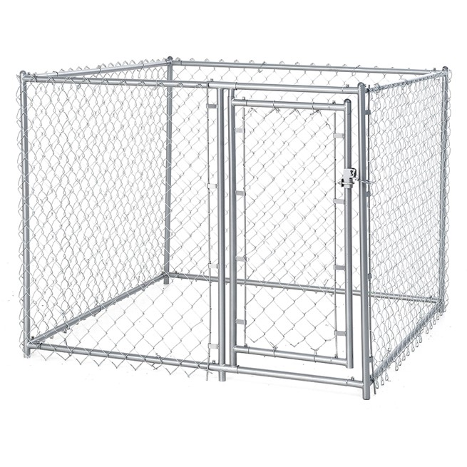 lucky dog single door chain link heavy duty outdoor dog kennel silver 5 l x 5 w x 4 h