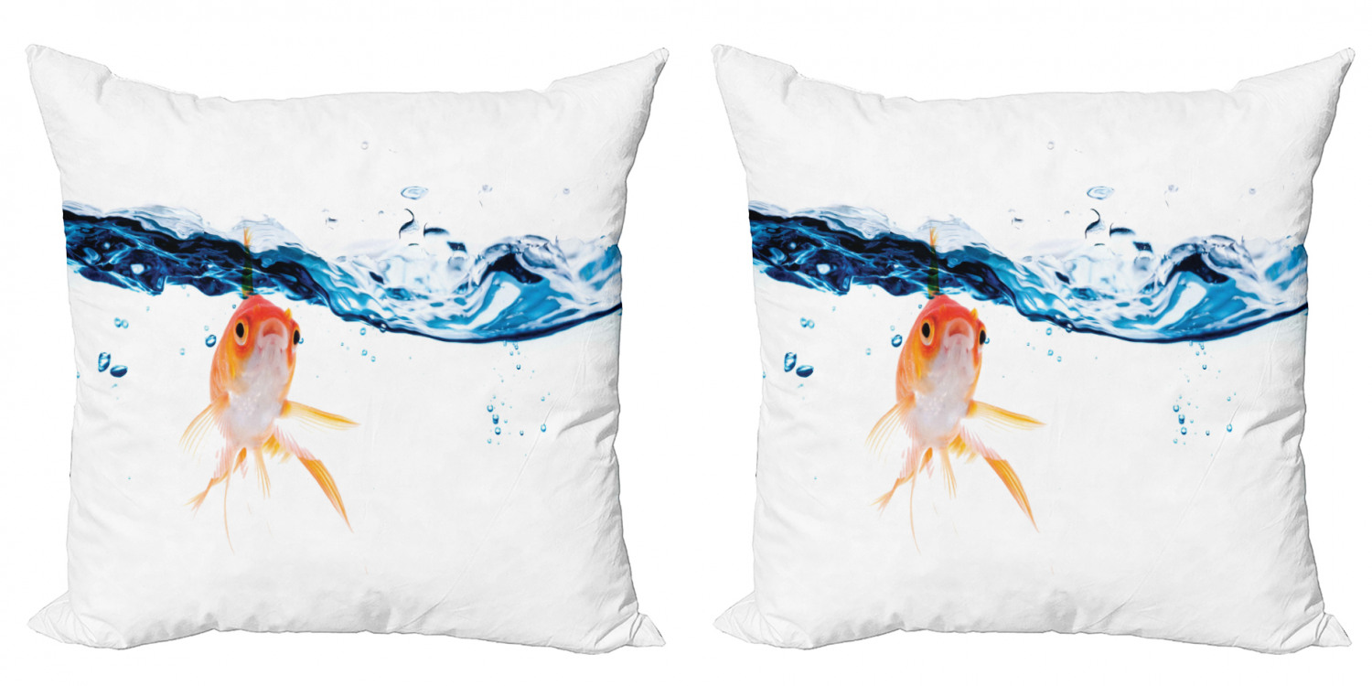 fish throw pillow cushion cover pack of 2 goldfish swimming under surface of clear water fishbowl liquid motion abstract style zippered double side
