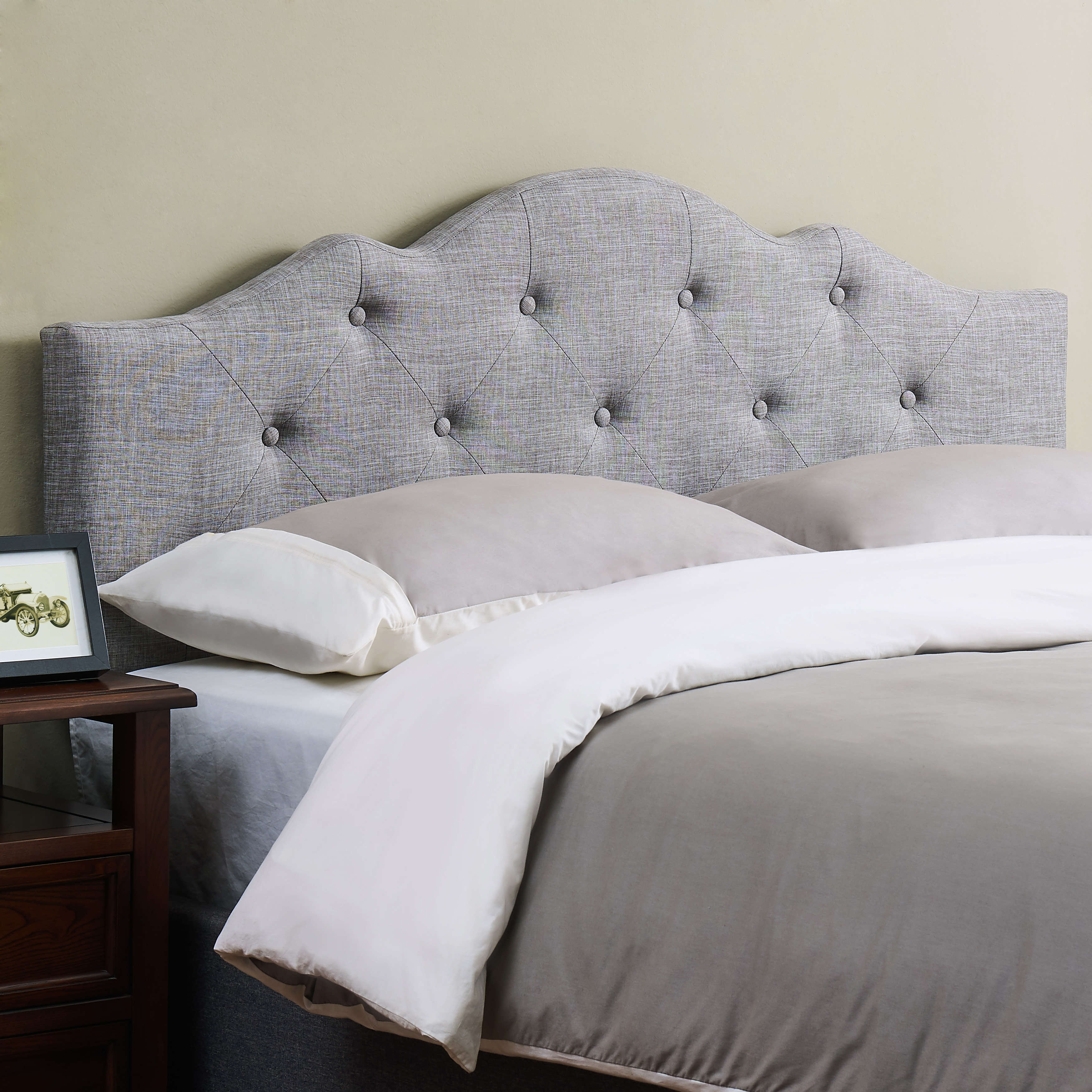 Mainstays Upholstered Tufted Rounded Headboard FullQueen