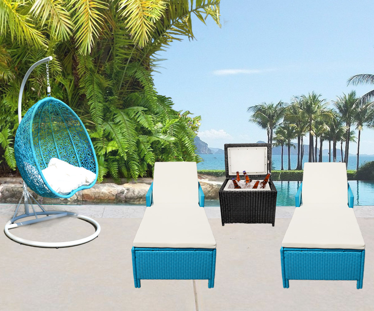turquoise patio chairs swivel vanity chair with back 4 pc outdoor furniture khaki 5 hanging rattan 2 person egg shape swing
