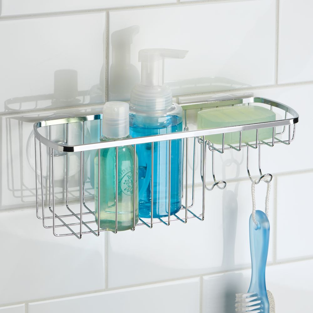 Bathroom Shower Caddy Interdesign Suction Bathroom Shower Caddy Combo Organizer Basket Polished Stainless Steel