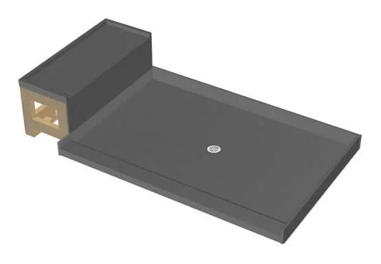 tile redi p3648c rb36 kit base n bench 36 x 60 rectangular shower base