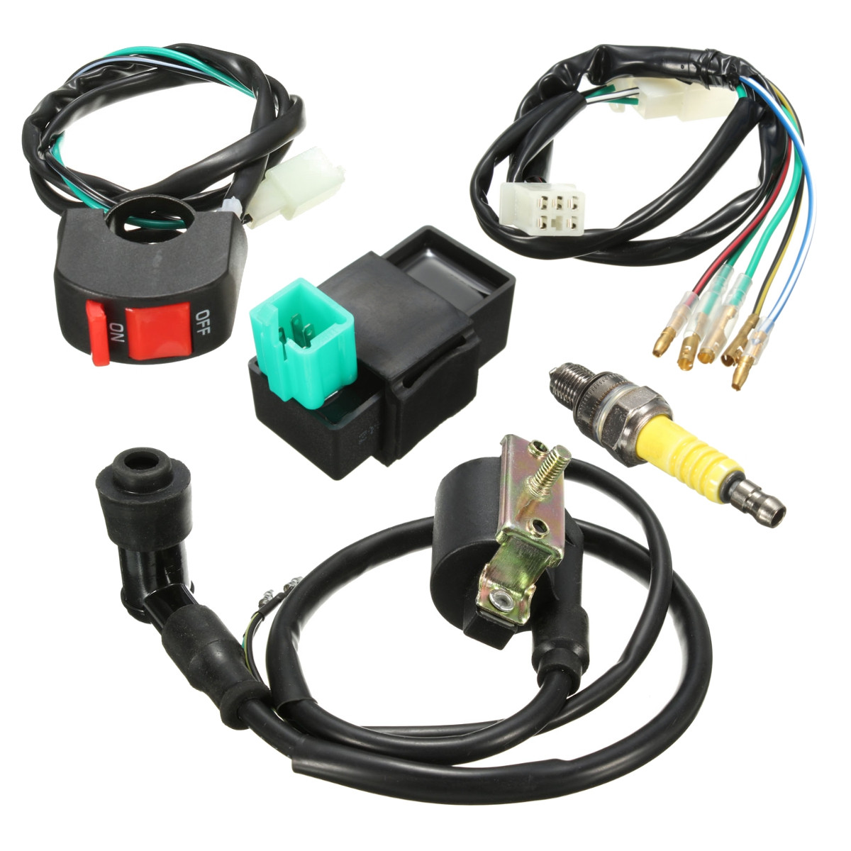 hight resolution of wiring loom light kill on off switch ignition coil cdi box spark plug kit for 110cc 120cc 125cc motorcycle atv dirtbike pit dirt bike walmart com