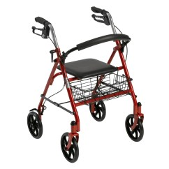 Walker Roller Chair Round Wicker Indoor Drive Medical Four Wheel Rollator Rolling With Fold Up Removable Back Support Red Walmart Com