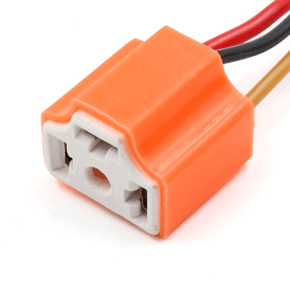 medium resolution of 15pcs orange ceramic h4 light extension wiring harness socket connector for car