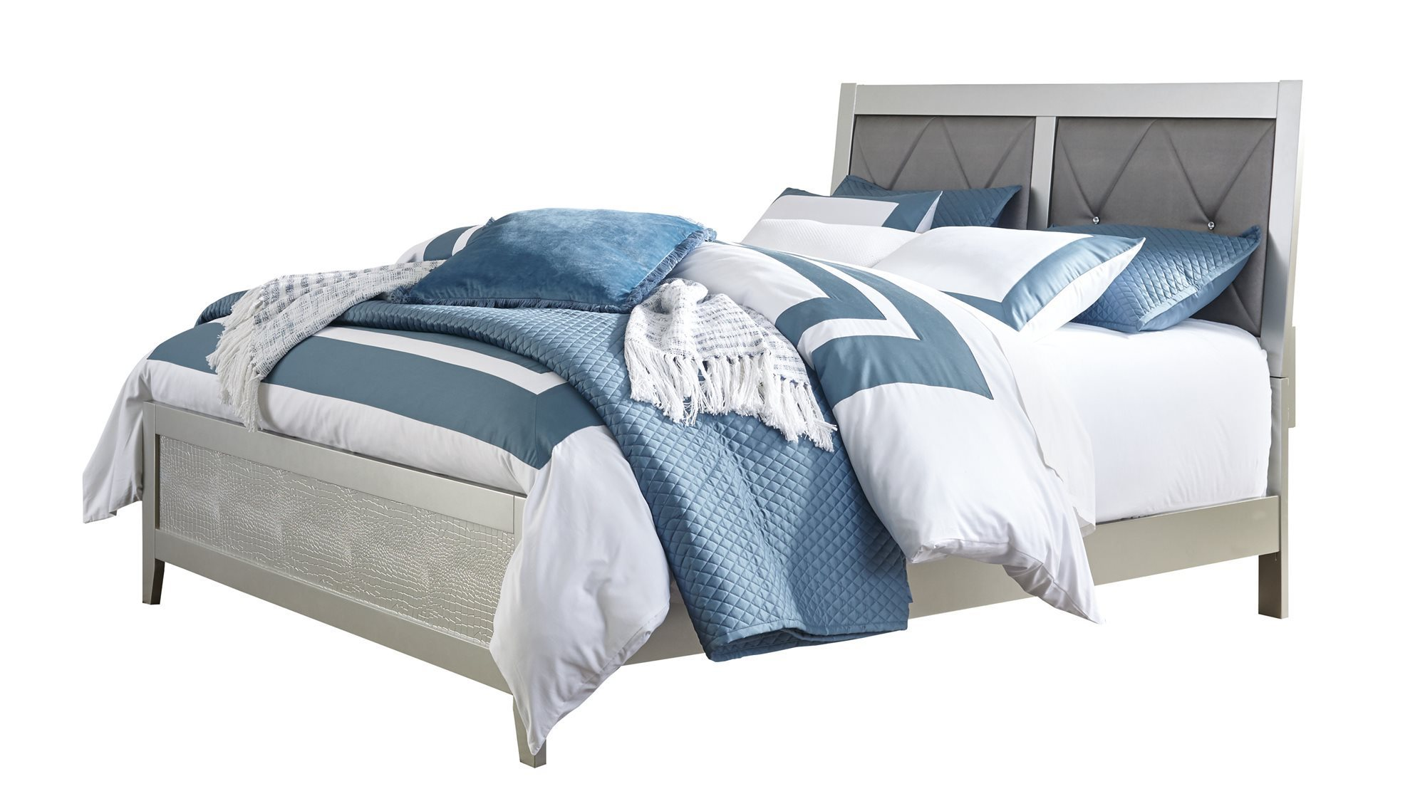 ashley furniture olivet queen panel bed silver