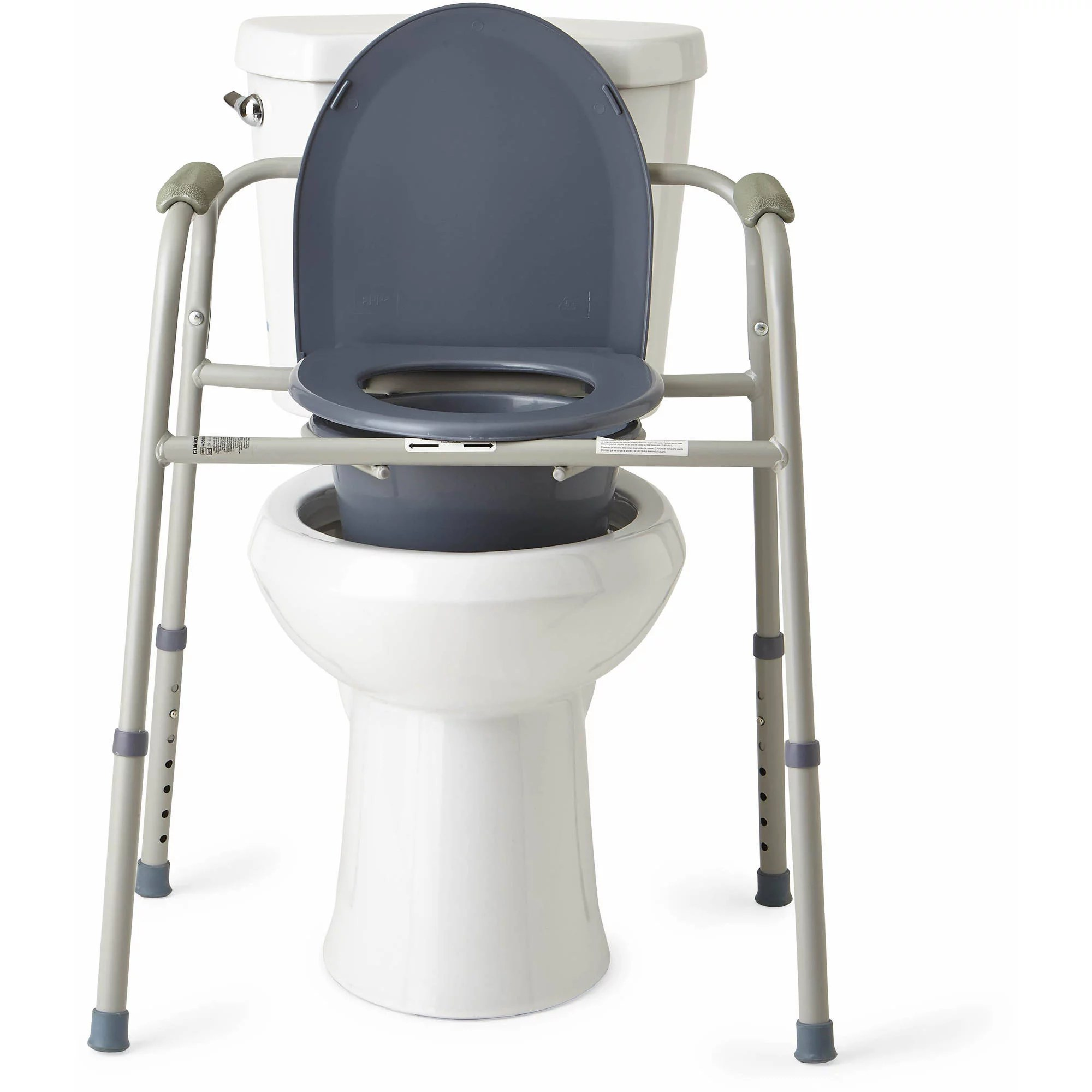 Bedside Commode Chair Steel Bedside Toilet Commode Handicap Assist Grab Bars Lid