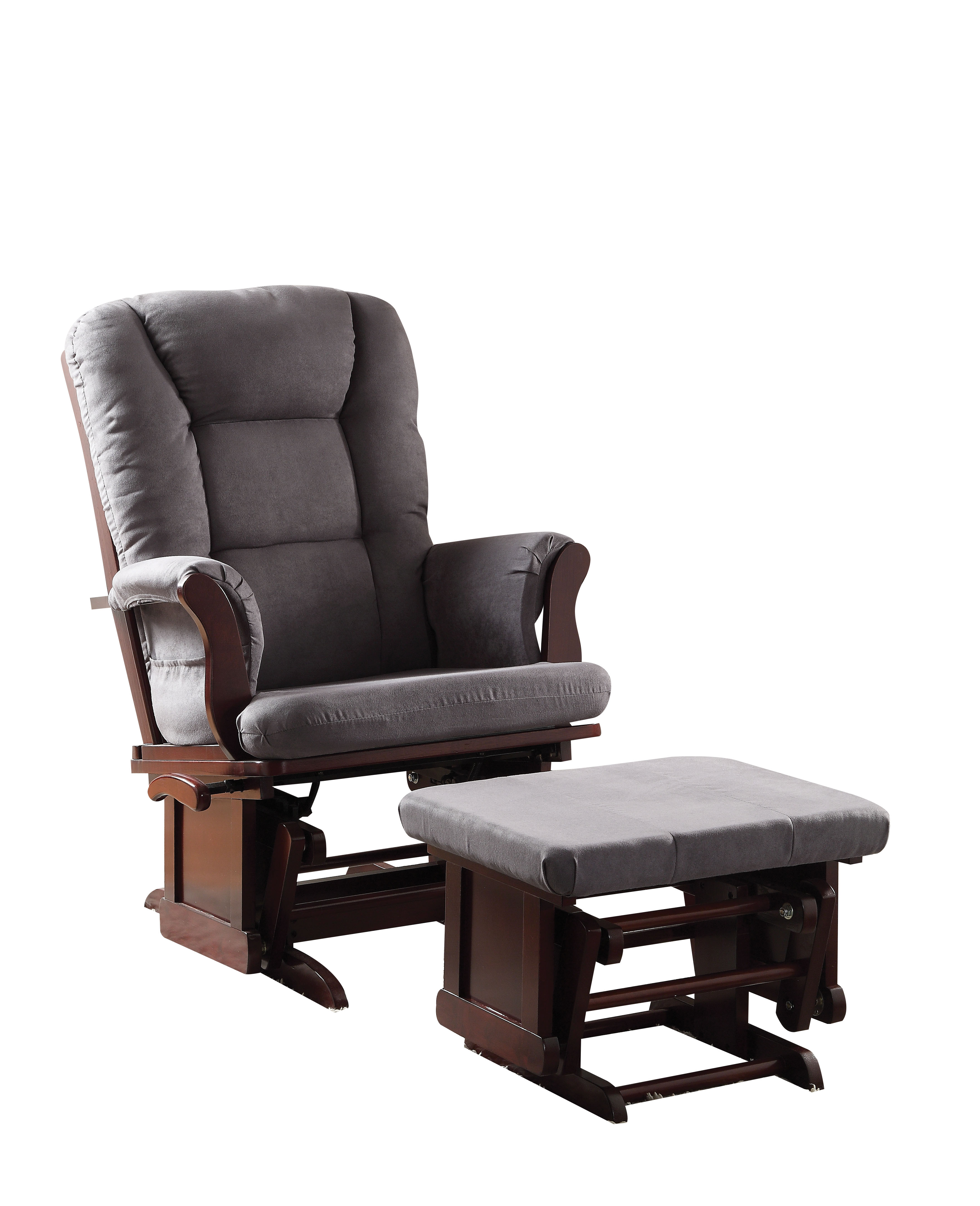 microfiber club chair with ottoman antique victorian chairs 2 piece pack glider gray cherry