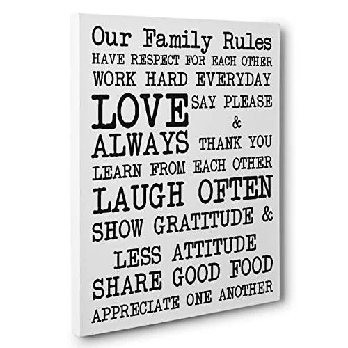 Our Family Rules Canvas Wall Art Walmart | iltribuno.com