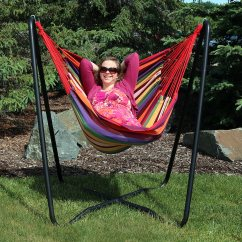 Hammock Chair Swings Ergonomic Miller Sunnydaze Hanging Swing With Sturdy Space Saving Stand For Indoor Or Outdoor Use Sunset 330 Pound Capacity Walmart Com