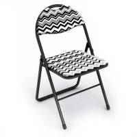 Classic Cushioned Folding Chair, Black and White, 2