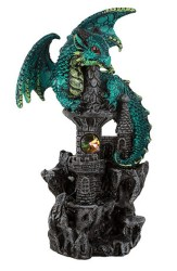 Green Guardian Dragon on Castle Figurine Medieval Mythical Fantasy Decoration Walmart com Walmart com