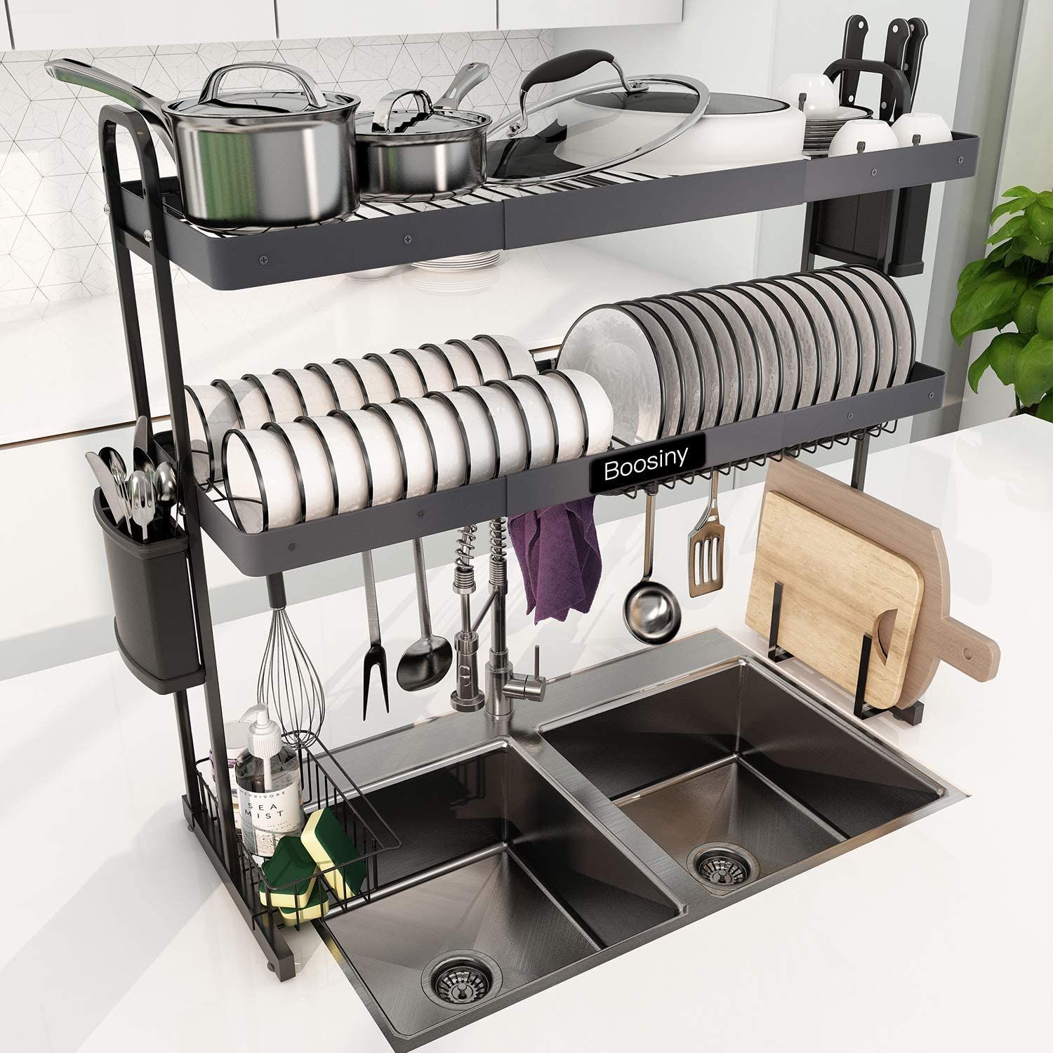 over sink dish drying rack boosiny 2 tier stainless steel expandable kitchen dish rack 27 5 33 5 adjustable large dish drainer shelf with