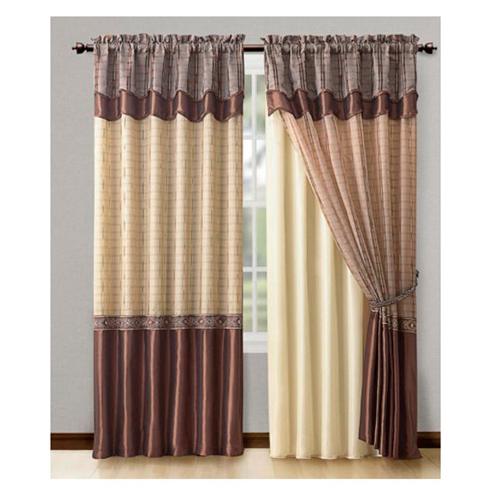 single 1 double layer window curtain drapery panel w double layer valance 55 x90 cinnamon walmart com