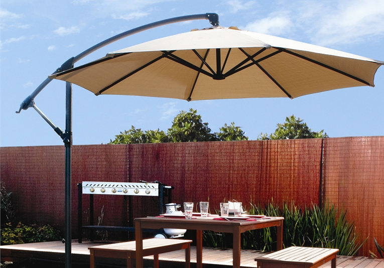 Patio 10' Hanging Umbrella Off Set Outdoor Parasol, 4