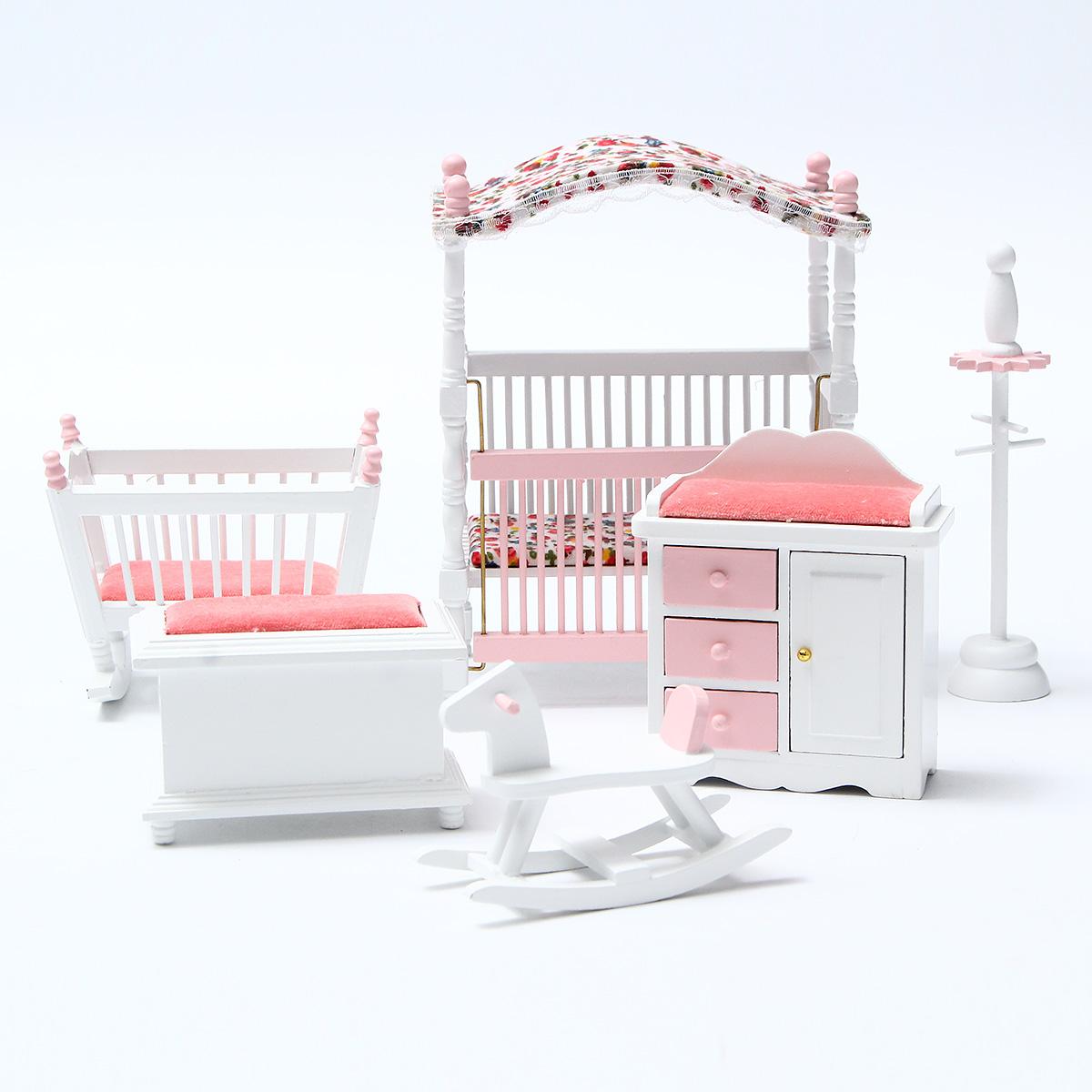 bedroom chair for clothes revolving cream 6pcs 1 12 dollhouse miniature wood european departments