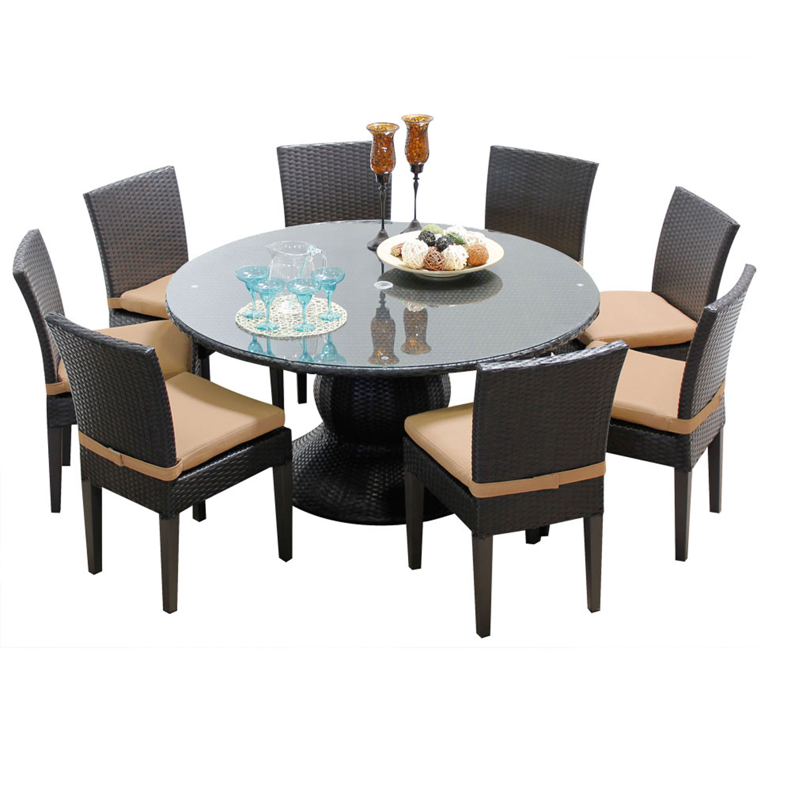 Dining Table 8 Chairs Pluto 60 Inch Outdoor Patio Dining Table With 8 Chairs