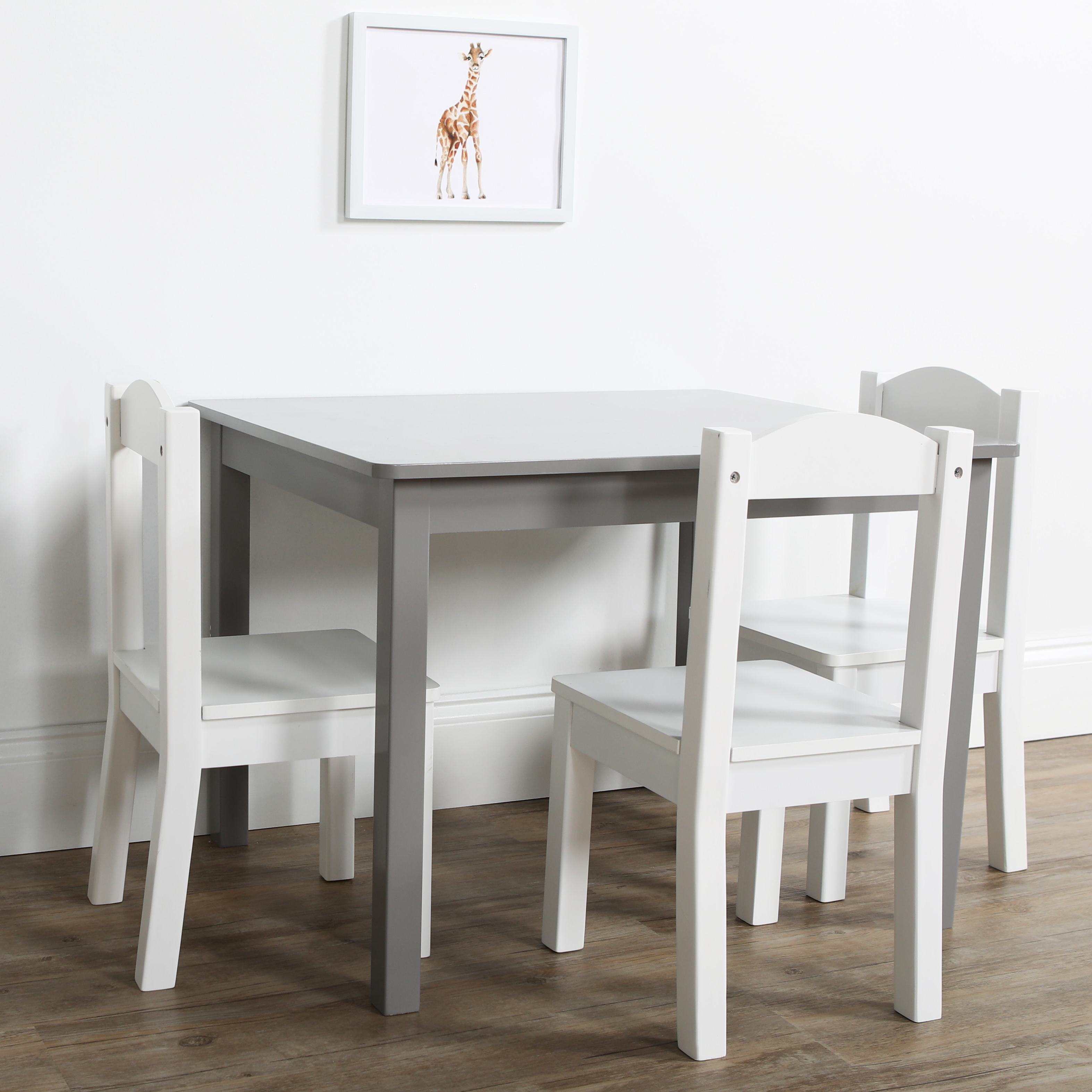Kids Wood Table And Chairs Tot Tutors Inspire 5 Piece Wood Kids Table Chairs Set In Grey White