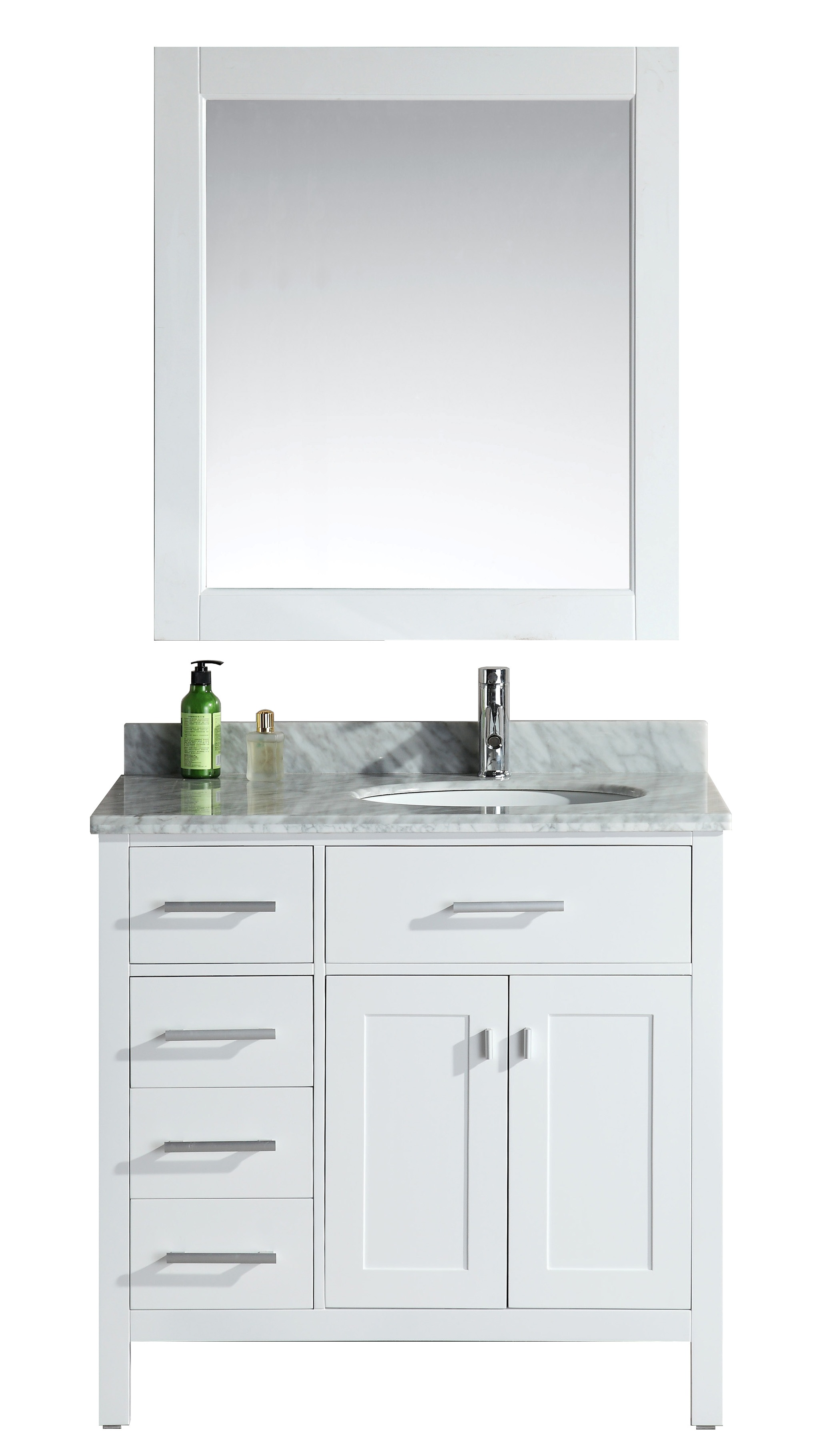 design element london 36 single sink bathroom vanity set in white with drawers on the left