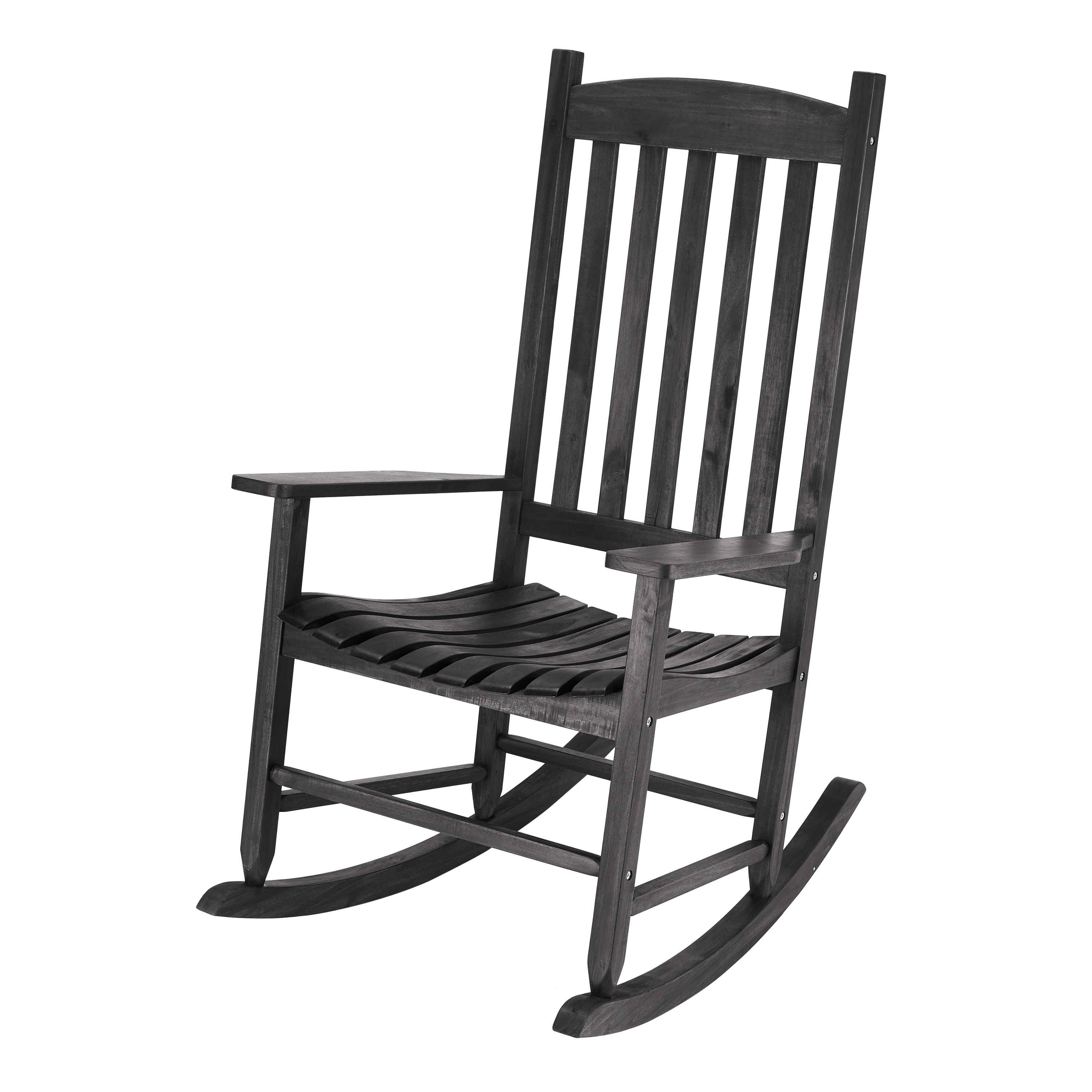Mainstays Black Solid Wood Slat Outdoor Rocking Chair