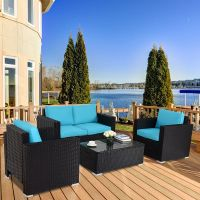 Gymax 4PC Rattan Patio Furniture Set Outdoor Wicker With ...