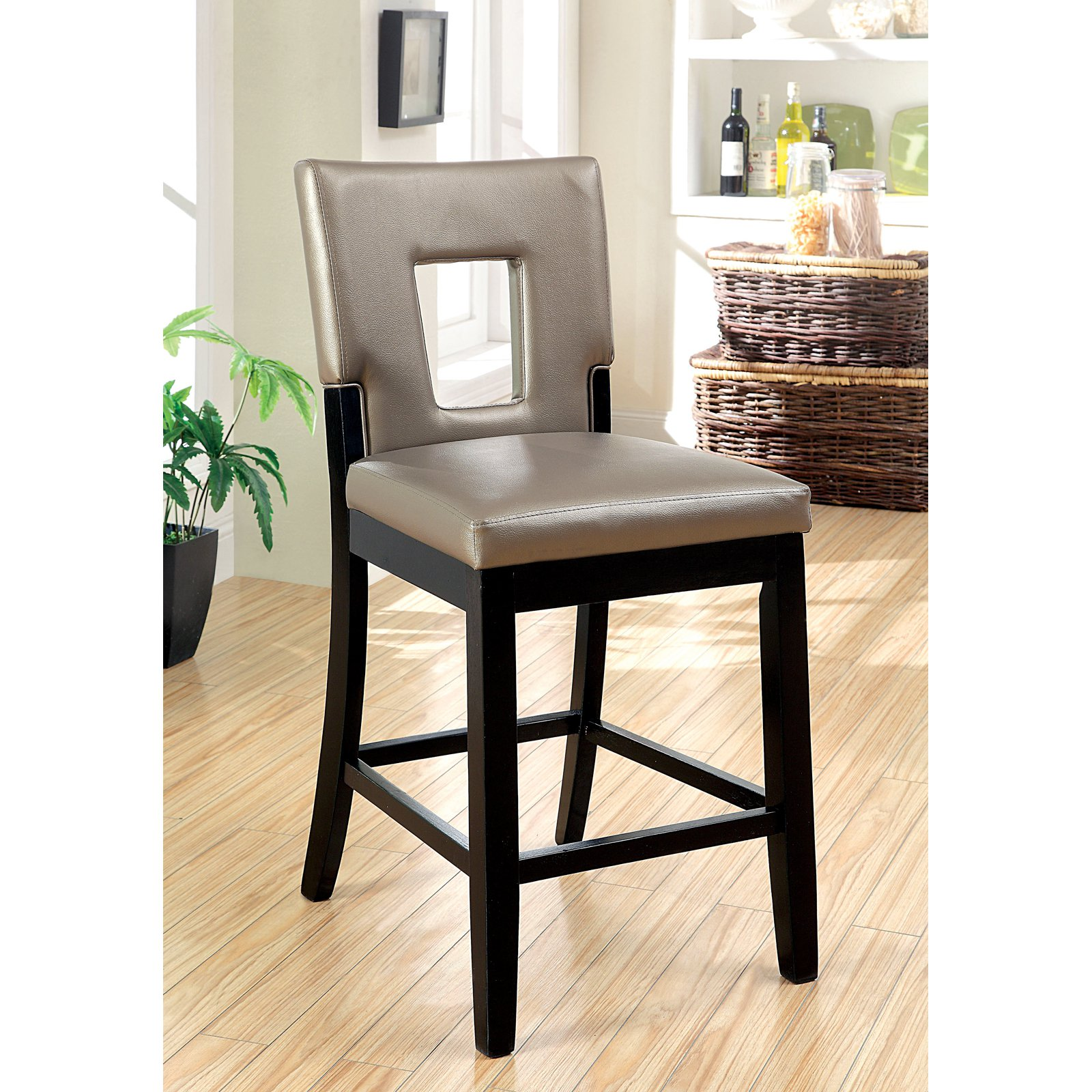 counter height chairs with back shabby chic kitchen table and furniture of america vanderbilte 2 piece open dining black walmart com