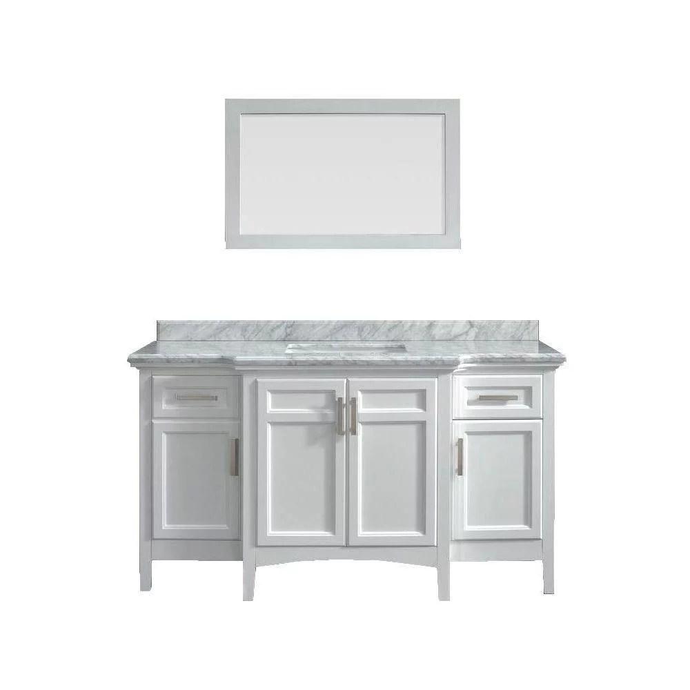 sassy 60 single bathroom marble vanity with mirror walmart com