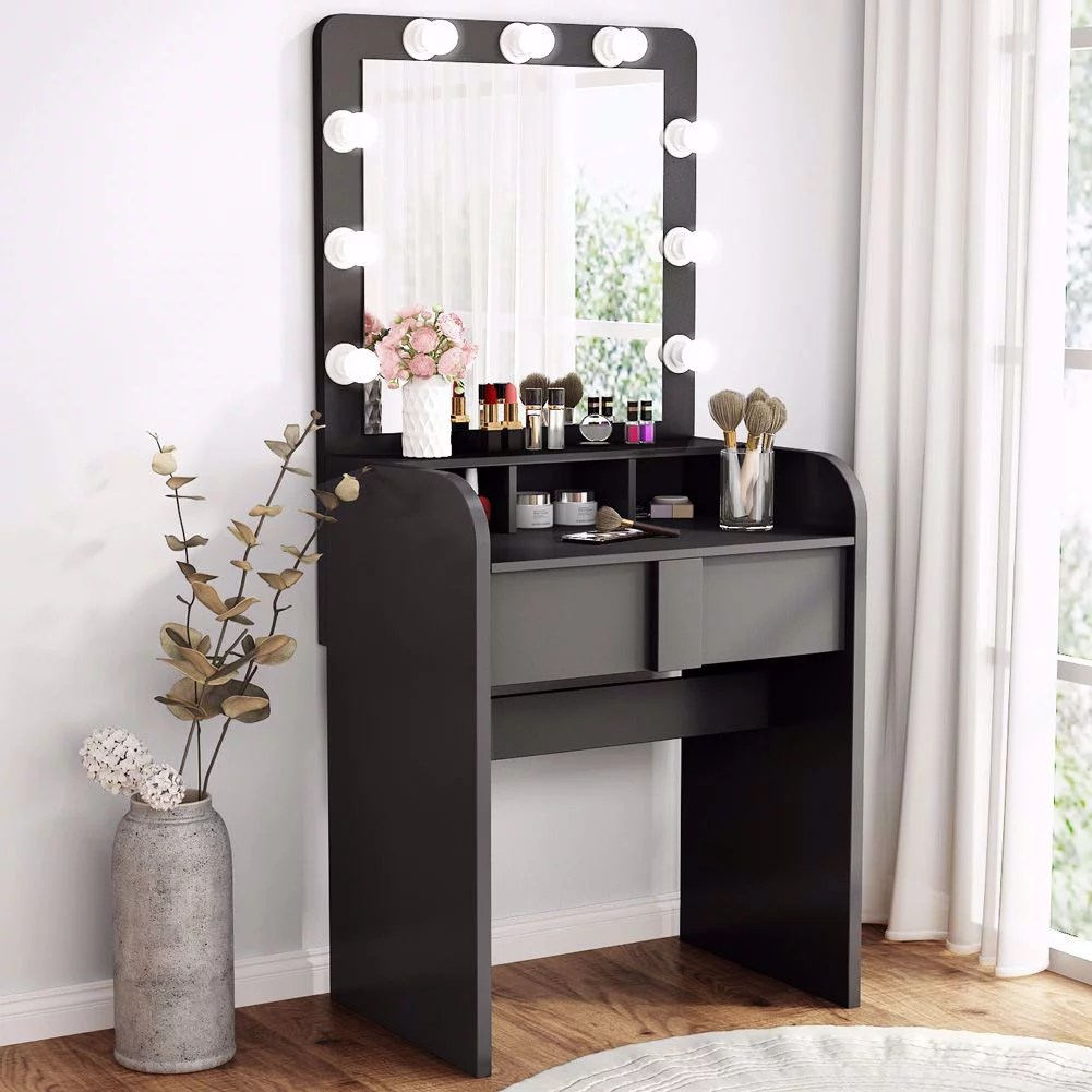 Tribesigns Vanity Table Set With Lighted Mirror Makeup Vanity Dressing Table With 9 Cool Light Bulb Modern Dressing Table Dresser Desk With Drawers For Bedroom Black Walmart Com Walmart Com