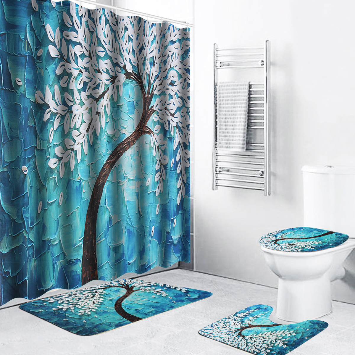 washable anti slip bathroom sets 4 pieces non slip soft absorbent flower tree shower curtain bath mat pedestal mat toilet seat cover mat blue
