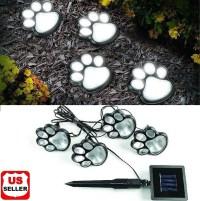 4 Solar Paw Print Lights Dog Path LED Cute Lawn Garden ...