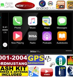 01 02 03 04 ford mustang apple carplay navigation works with iphone am fm usb bluetooth car radio stereo pkg incl vehicle hardware dash kit wire  [ 1552 x 1432 Pixel ]