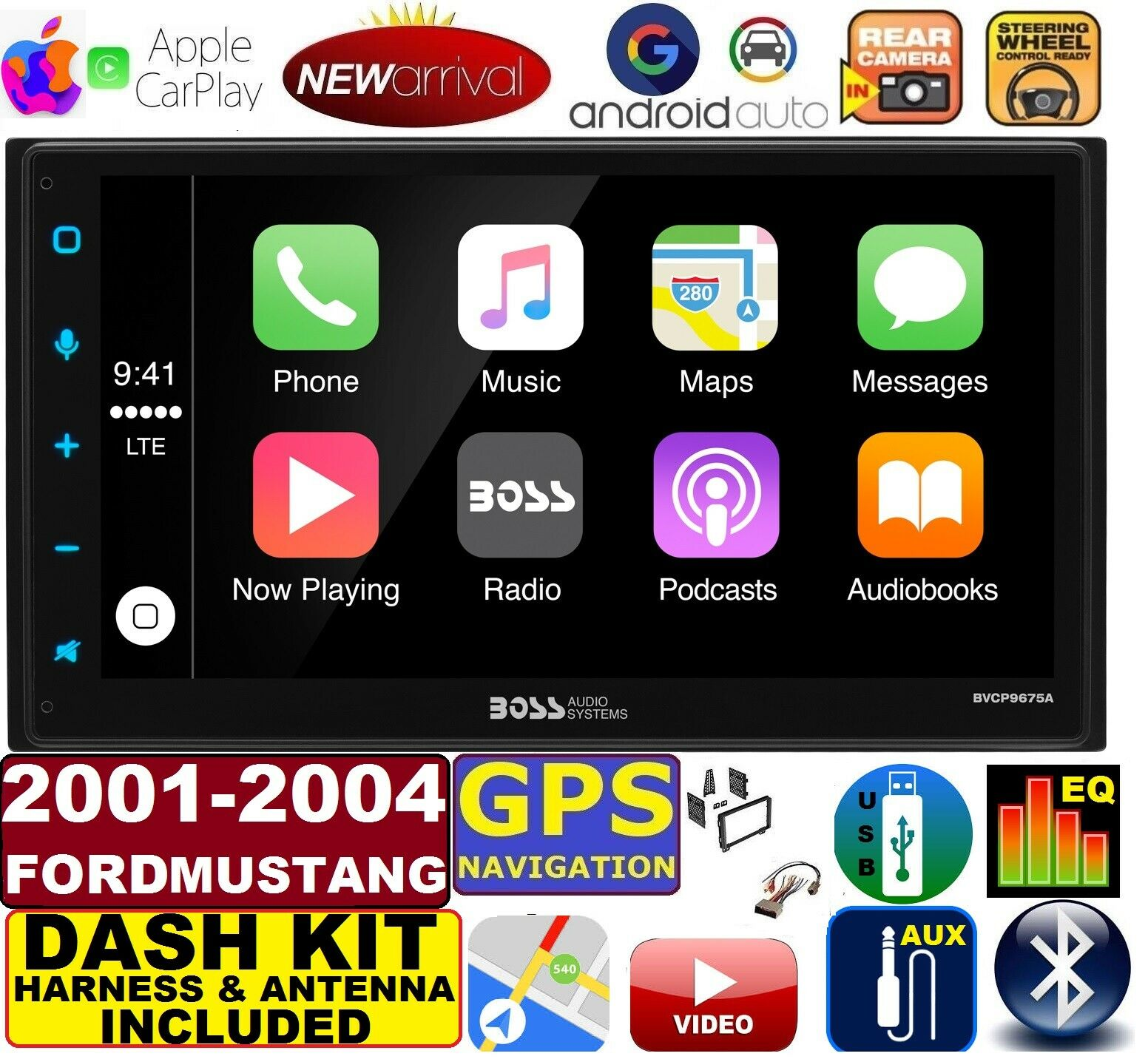 hight resolution of 01 02 03 04 ford mustang apple carplay navigation works with iphone am fm usb bluetooth car radio stereo pkg incl vehicle hardware dash kit wire