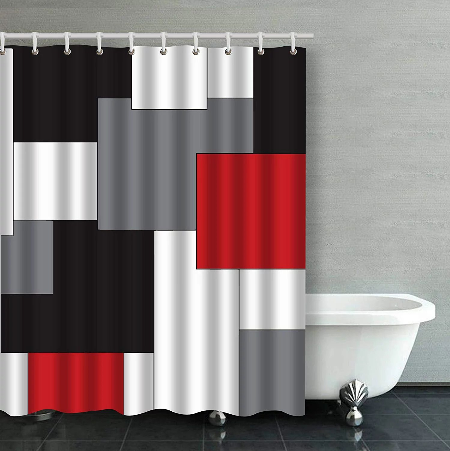 bpbop wavy vertical stripes red black white and grey bathroom shower curtain 60x72 inches