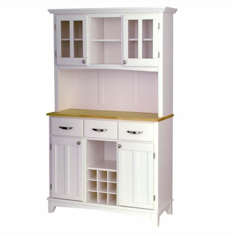 bowery hill wood top wine rack buffet server with 2 door hutch in white
