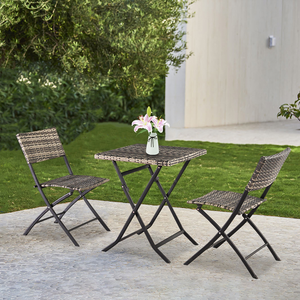 outdoor patio furniture sets 3 piece gray wicker patio bar set set of 2 folding chairs and dining table outdoor conversation sets dining set for