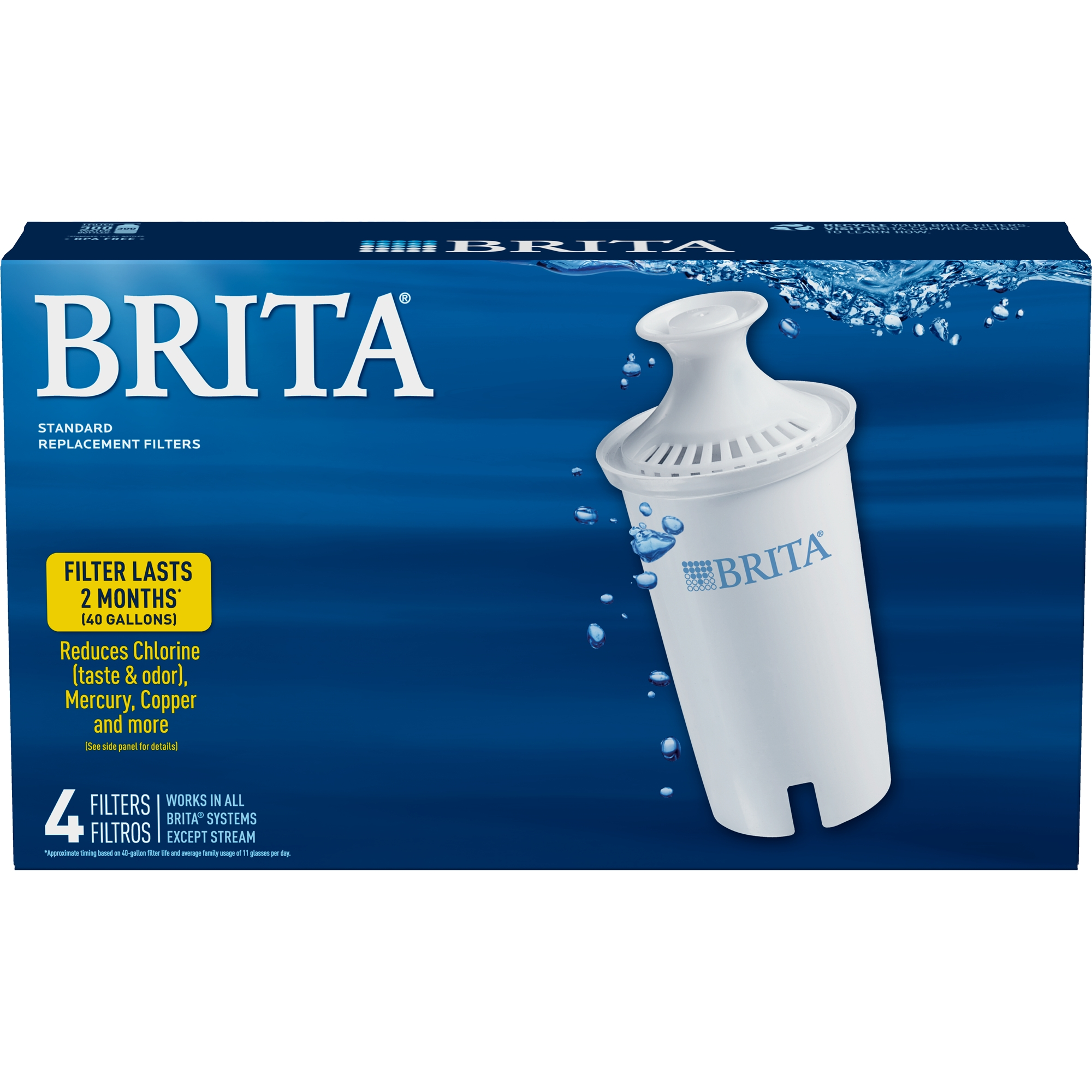 hight resolution of brita standard water filter standard replacement filters for pitchers and dispensers bpa free 4 ct walmart com