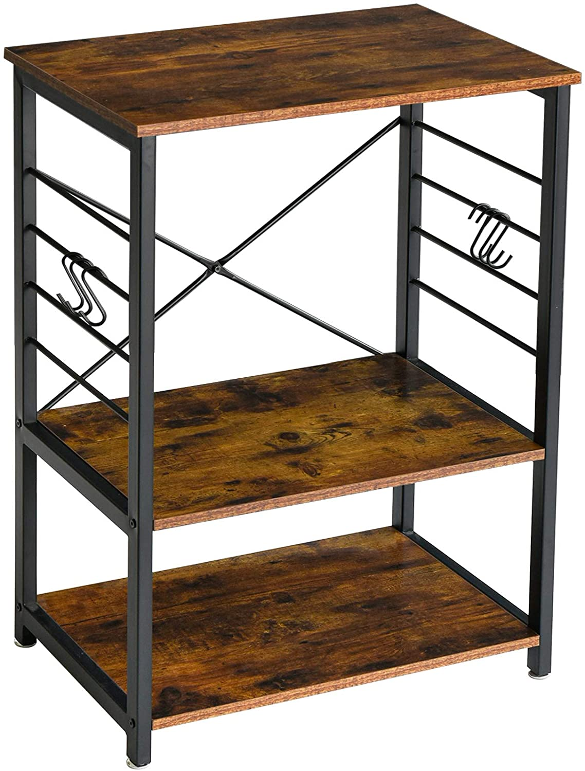 ymyny industrial microwave oven stand 3 tier kitchen baker s rack with metal frame and 6 hooks multifunctional coffee bar for living room