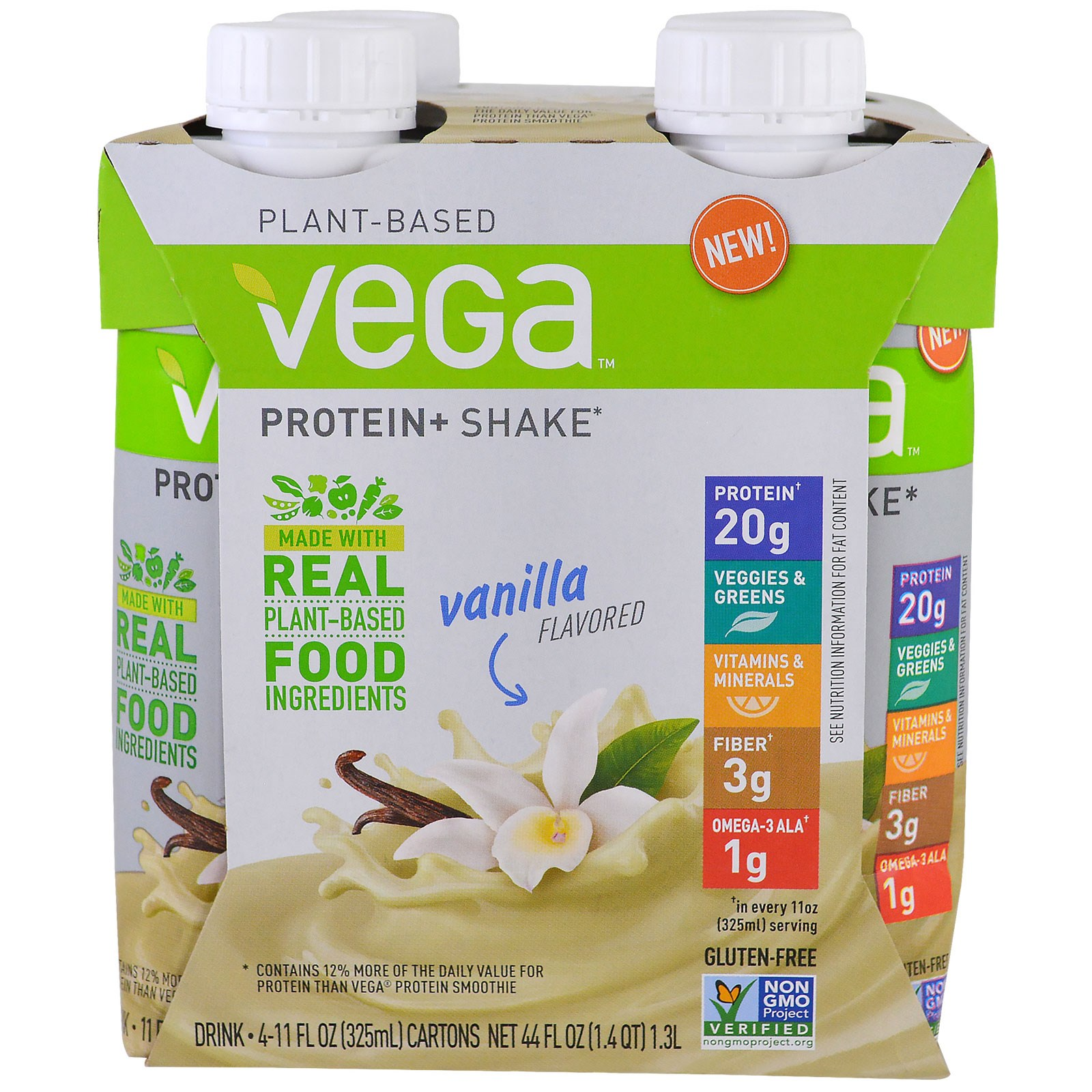 vega plant based vanilla vegan protein shake 20 g 4 count