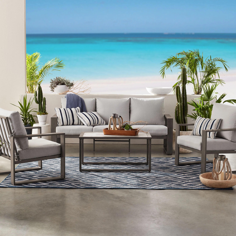 better homes gardens belle haven 4 piece conversation outdoor furniture set metal