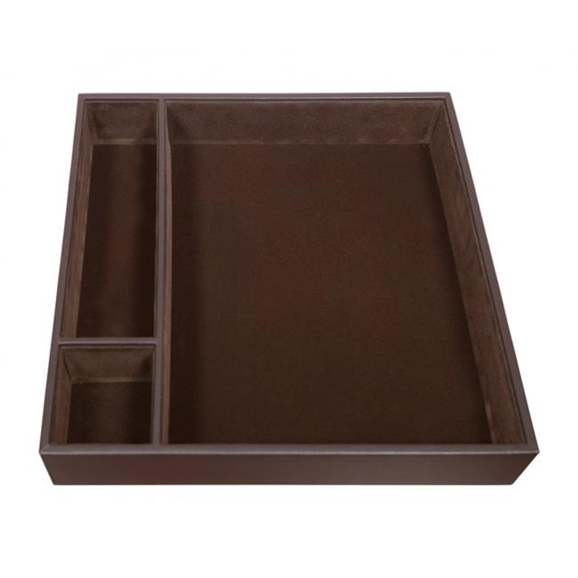 Leather Conference Room Organizer Tray Chocolate Brown