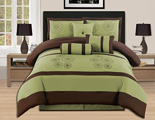 7 pieces luxury embroidery king sage brown comforter set bed in a bag oversize bedding hs16