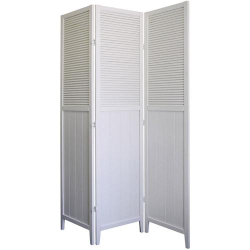 ORE International Shutter Door 3Panel Room Divider White